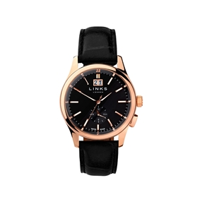 Regent Mens Black Dial Rose Gold Plate Black Leather Watch-