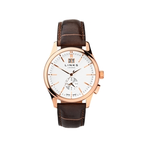 Regent Mens Rose Gold Plate & Chocolate Leather Watch-