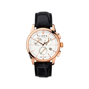 Regent Mens Rose Gold Plate & Black Leather Chronograph Watch-
