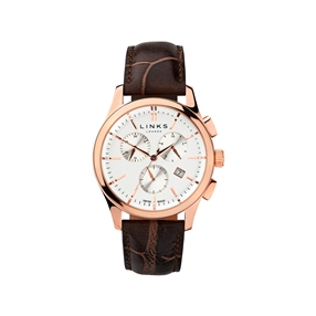 Regent Mens Rose Gold Plate & Chocolate Leather Chronograph Watch-