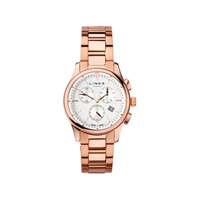 Regent Mens Rose Gold Plate Chronograph Bracelet Watch-