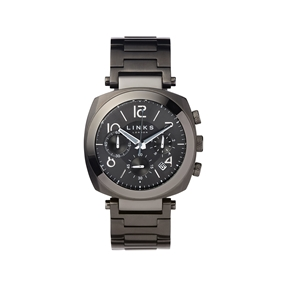 Brompton Mens Black Stainless Steel Chronograph Bracelet Watch-