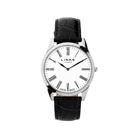 Noble Mens Slim Stainless Steel Black Leather Watch-