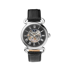 Driver Mens Skeleton Automatic Stainless Steel & Black Leather Watch-