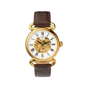 Driver Mens Skeleton Automatic Gold Tone & Brown Leather Watch-
