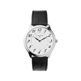 Narrative Stainless Steel & Black Leather Mens Watch-