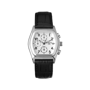 Limited Edition Sterling Silver and Black Leather Chronograph Watch-