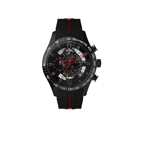 Skeleton Black & Red Rubber Strap Chronograph Watch-
