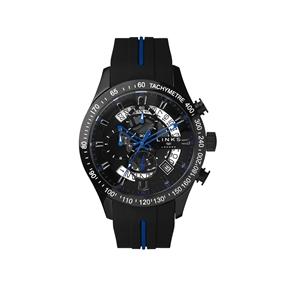 Skeleton Blue & Black Rubber Strap Chronograph Watch-