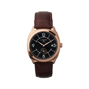 Brompton Mens Rose Gold Plate & Brown Leather Watch-