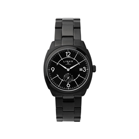 Brompton Mens Black Stainless Steel Bracelet Watch With Black Dial-